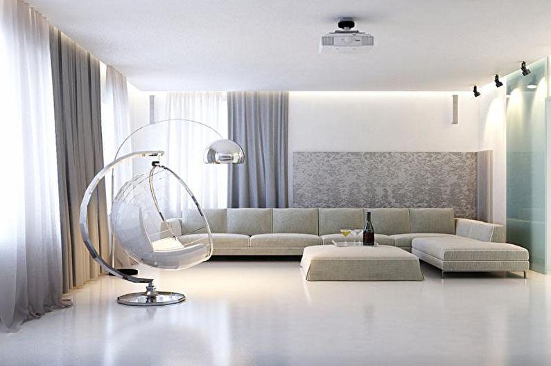 Design d'intérieur de salon dans le style du minimalisme - photo