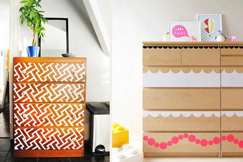 DIY déco d'armoire ancienne - Pochoirs et stickers