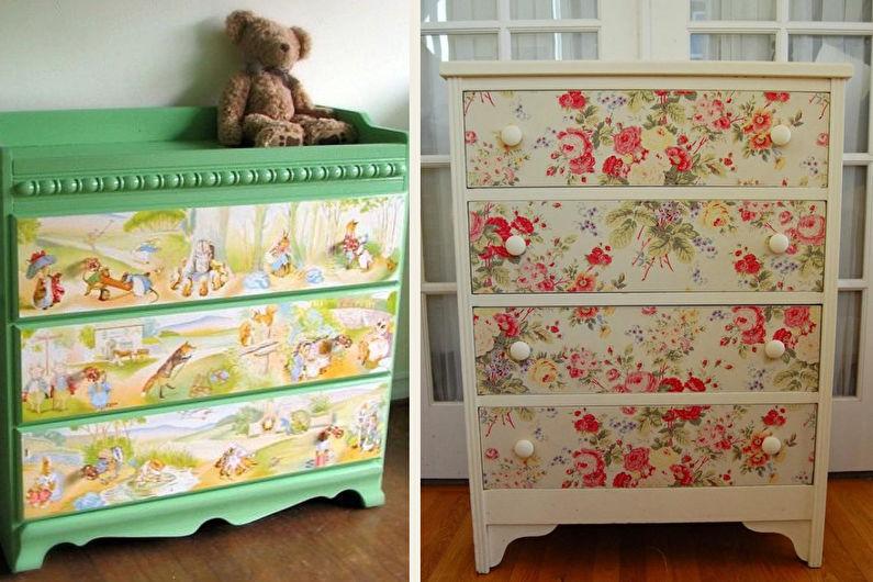 DIY déco d'armoire ancienne - Papier peint