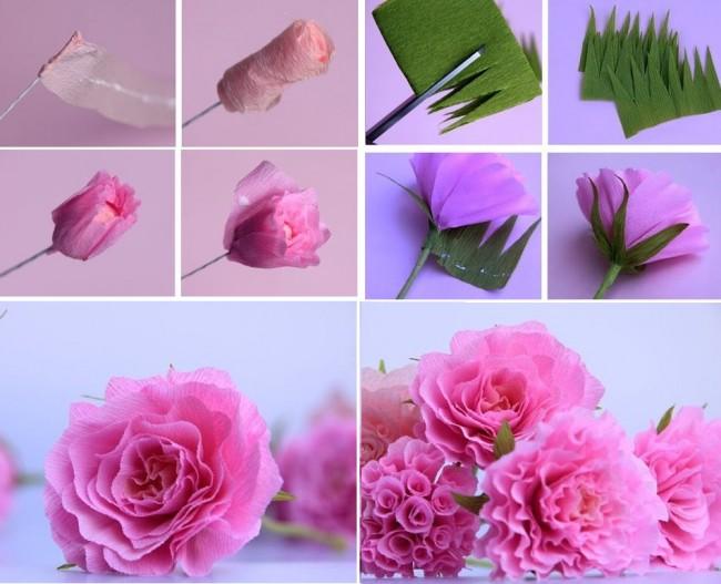 Étapes de la création d'une rose à partir de papier ondulé