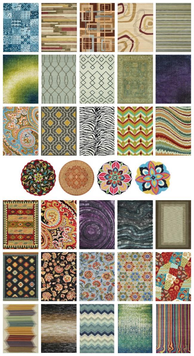 Tapis à l'intérieur du salon.  Le choix des couleurs, à la fois de l'usine et des quantités limitées de tapis design, est illimité.