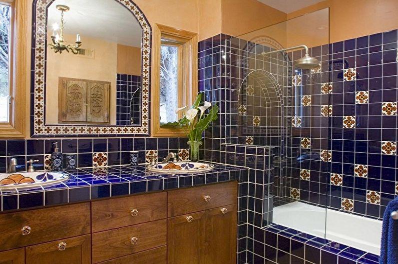 Salle de bain bleue de style oriental - Design d'intérieur