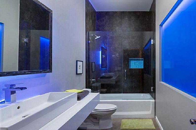 Salle de bain bleu high-tech - Design d'intérieur