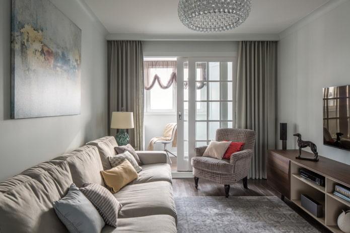 design d'intérieur de salon dans les tons de gris