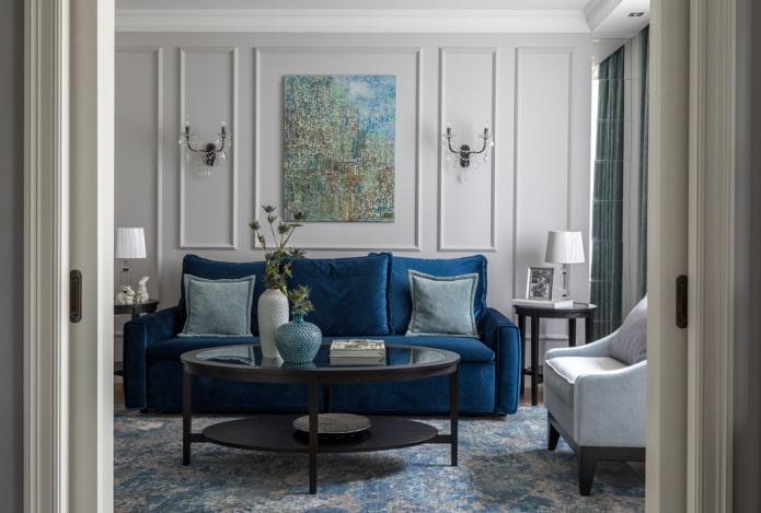 intérieur du salon dans les tons gris-bleu