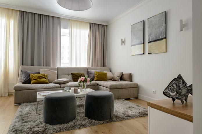 intérieur du salon dans les tons gris-beige