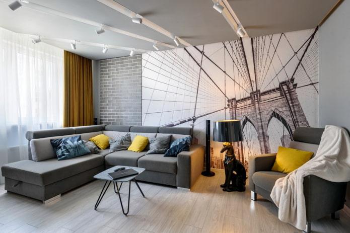 papier peint dans un salon gris