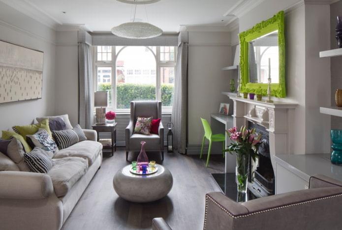 intérieur de salon gris avec des accents lumineux