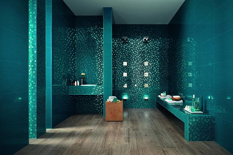 Conception de salle de bain turquoise - Fini au sol
