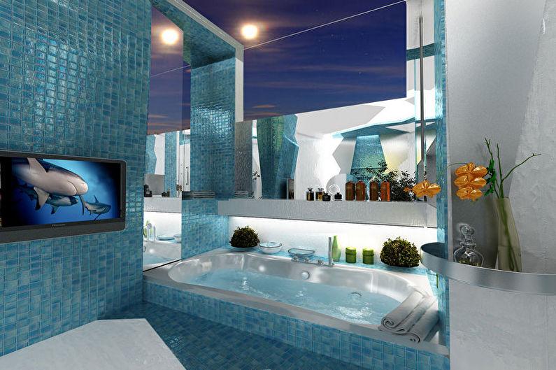 Salle de bain de style nautique turquoise - Design d'intérieur