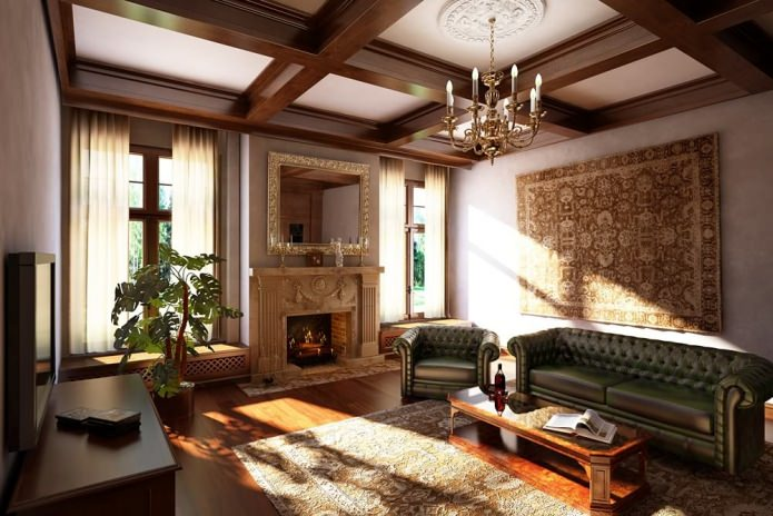 Intérieur du salon de style anglais