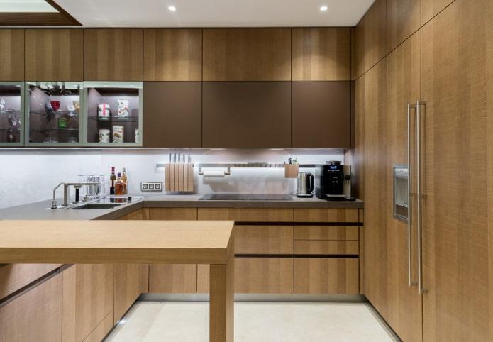 Cuisine marron: combinaisons, idées de design, exemples réels à l'intérieur