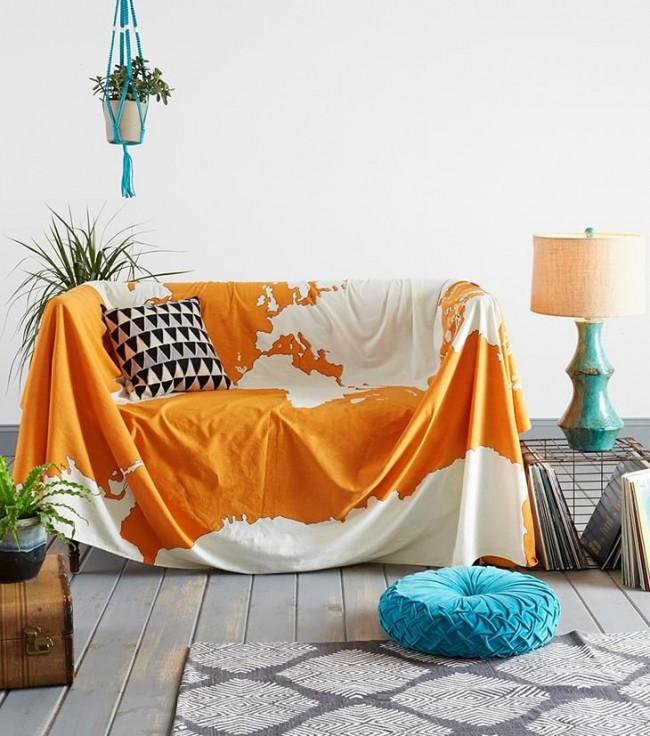 Housse de canapé cape en coton léger de couleur orange vif