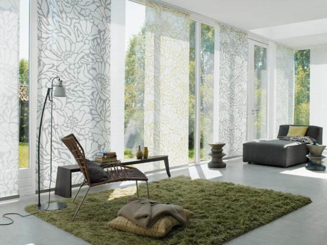 Les rideaux japonais, même avec un motif, sont idéaux pour les amateurs de minimalisme