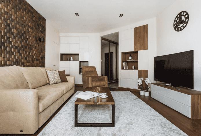 intérieur de salon dans un appartement de 50 places