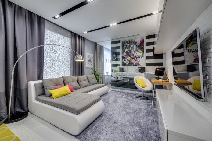 canapé d'angle bicolore