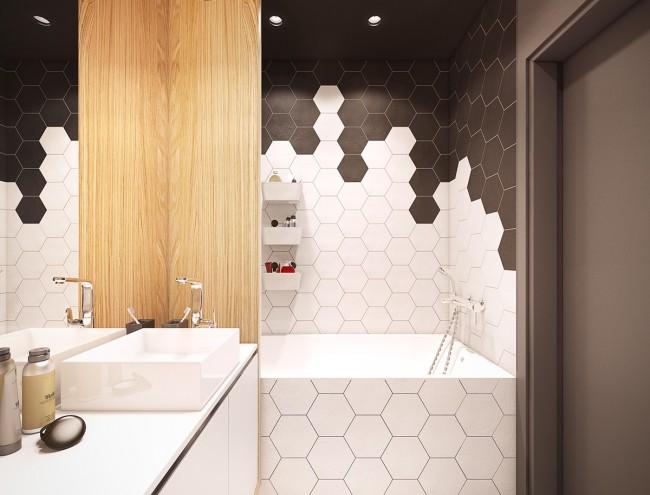 La combinaison d'une géométrie de carreaux non standard et de la gamme monochrome générale élargira visuellement l'espace de la salle de bain