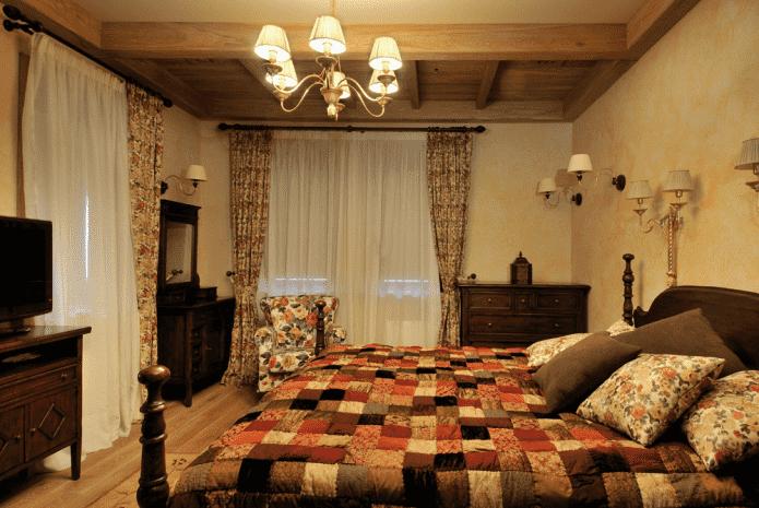 éclairage dans la chambre dans un style campagnard