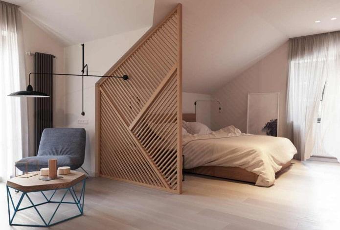 zonage d'un endroit pour dormir à l'intérieur de la chambre mansardée