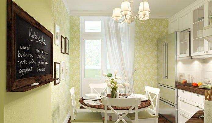 papier peint vert pour petite cuisine