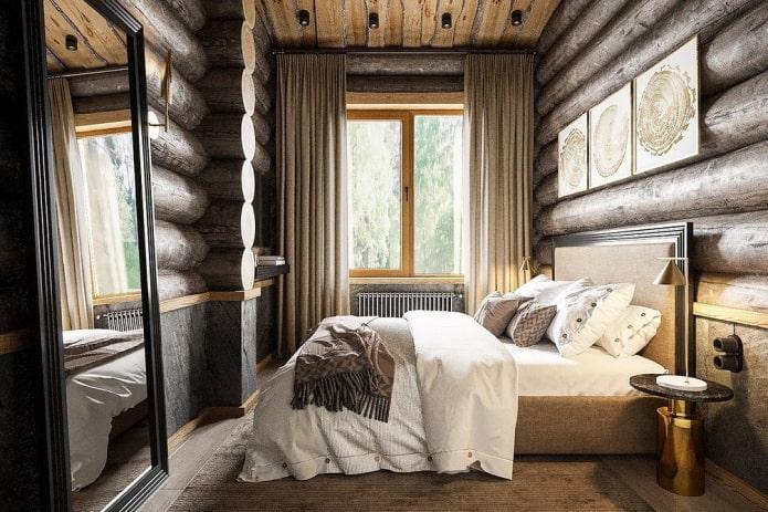chambre dans une maison en rondins