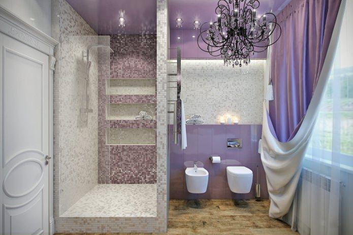 salle de bain avec douche dans les tons lilas