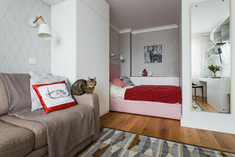 Conception d'un appartement d'une pièce de 33 m².  (65 images)