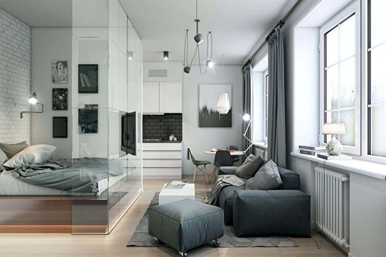 Conception d'un salon combiné avec une chambre (73 photos)