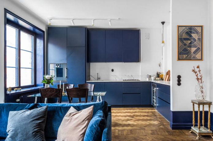 cuisine de studio bleu minimaliste