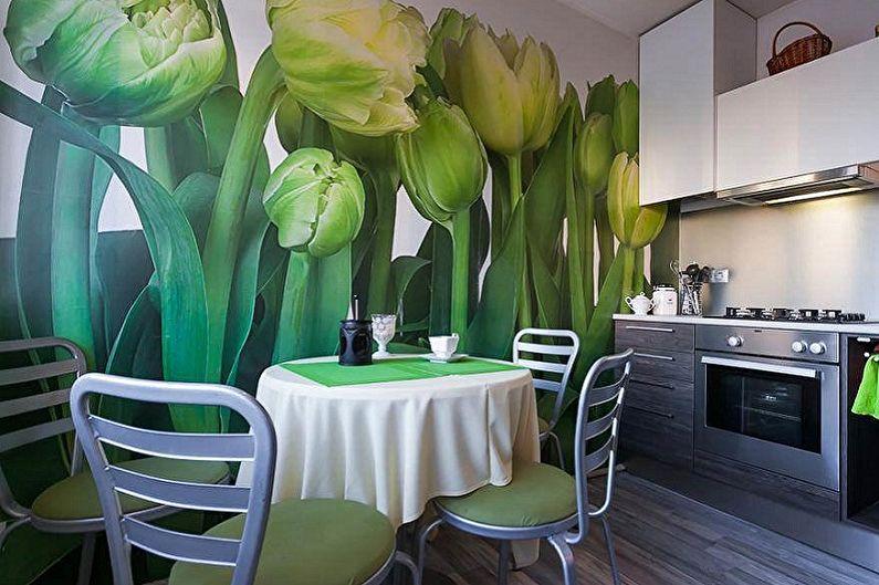 Couleur de papier peint pour la cuisine : 90 idées de photos