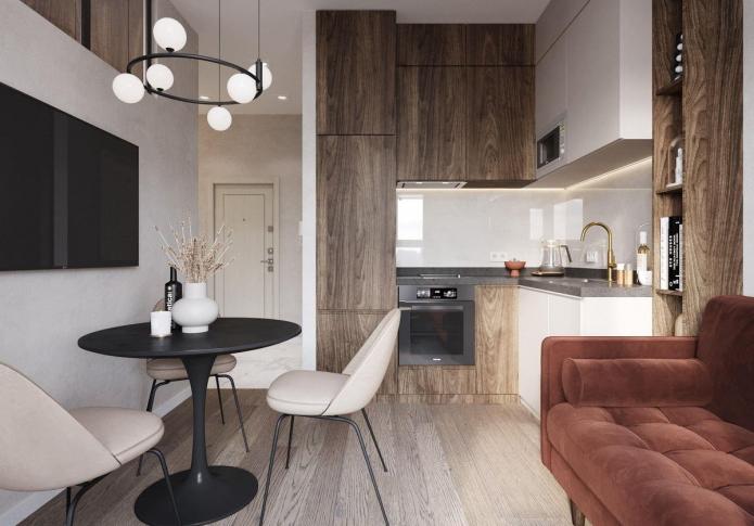 Cuisine-salon carrée