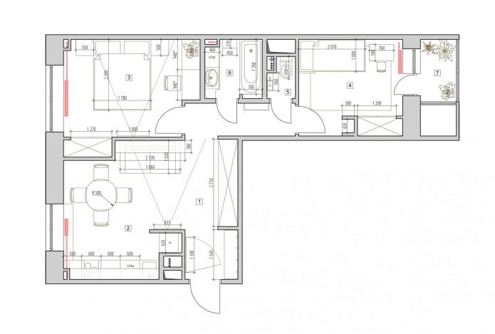 Aménagement d'un deux pièces 52 m².  m.
