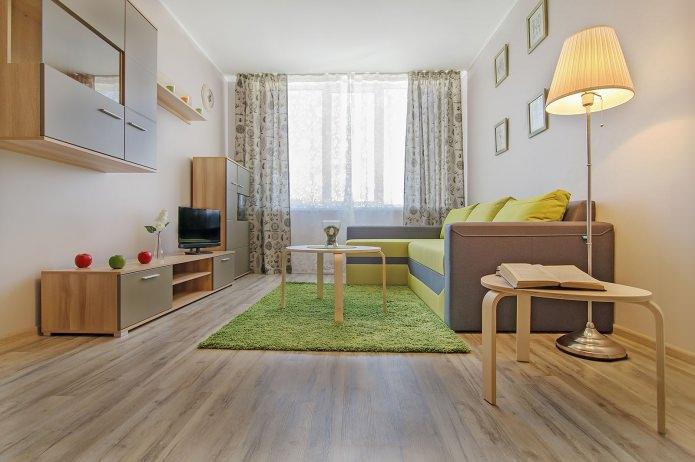 salon à l'intérieur d'un appartement d'une pièce de 42 m².  m.