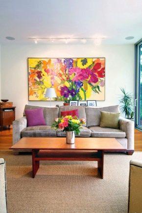 Images à l'intérieur du salon: les subtilités de la décoration murale