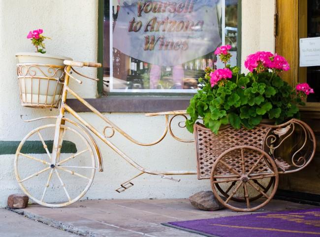 Un vélo déco avec un panier devenu un excellent abri pour les géraniums en fleurs