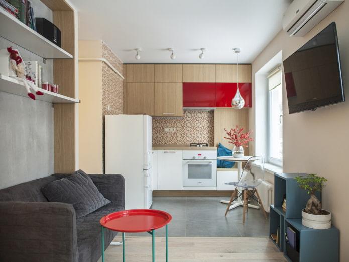 conception d'une petite cuisine combinée avec un salon