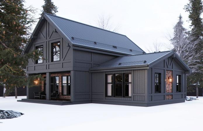 maison noire de style scandinave