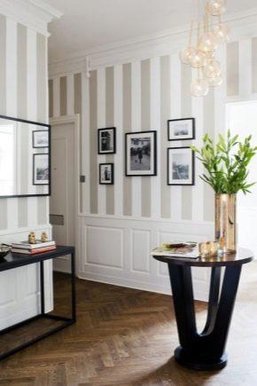 Papier peint à rayures dans les intérieurs d'appartements