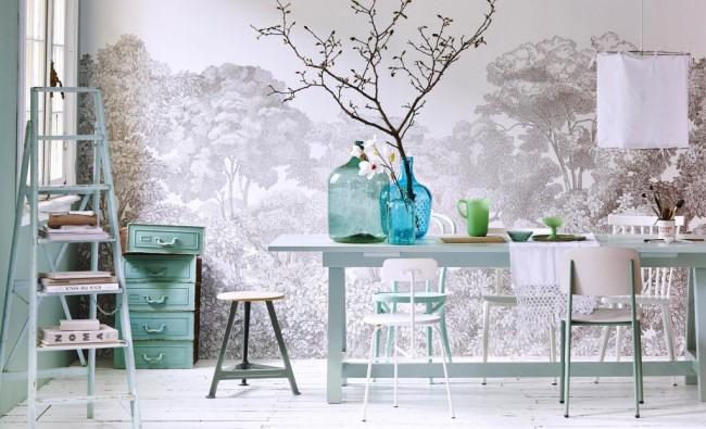 Peintures murales en lumière calme avec un motif à la mode aujourd'hui - gravure
