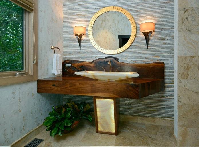 papier peint en bambou dans la salle de bain