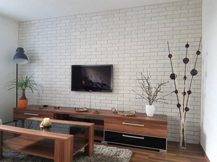 brique à l'intérieur du salon