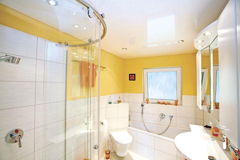 Plafond tendu dans la salle de bain (+65 photos)