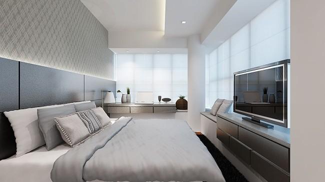 Les cloisons sèches sont le matériau optimal et élégant pour le plafond d'une chambre à coucher moderne