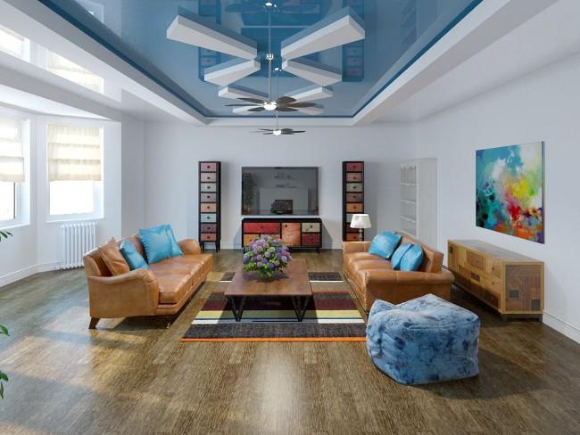 Décoration de plafond spectaculaire dans le salon - plafond tendu à deux niveaux