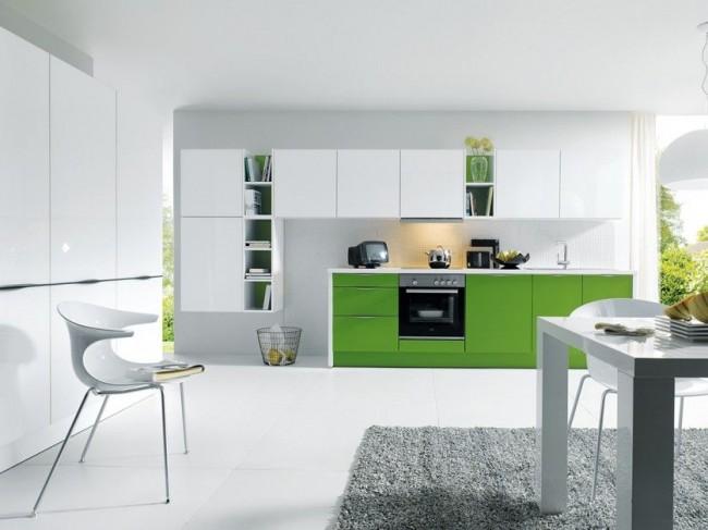 Cuisine moderne et élégante au design blanc et vert