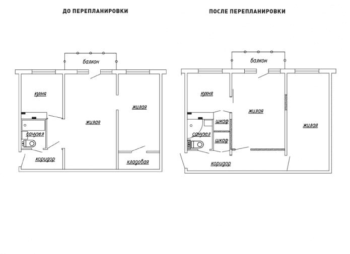 réaménagement d'un appartement de deux pièces à Khrouchtchev