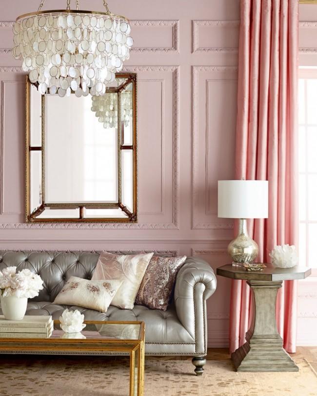 Salon aux couleurs rose et perle