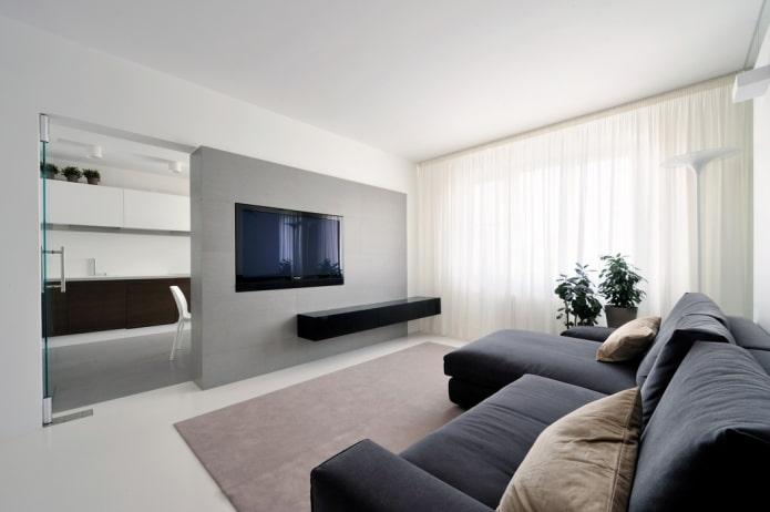 TV à l'intérieur de la salle dans le style du minimalisme
