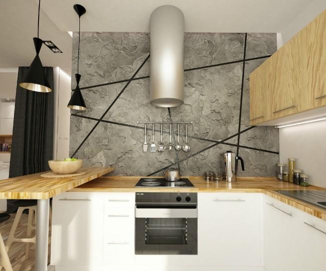 Set de cuisine pour une petite cuisine.  Projet de cuisine dans le studio, où le bar est l'élément de zonage
