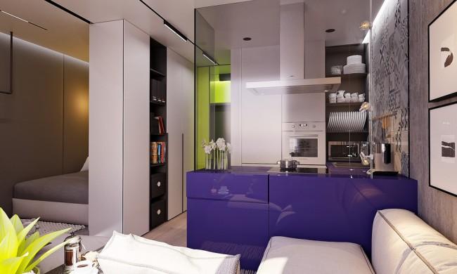 Couleurs vives, riches et énergisantes dans un petit appartement au mobilier moderne
